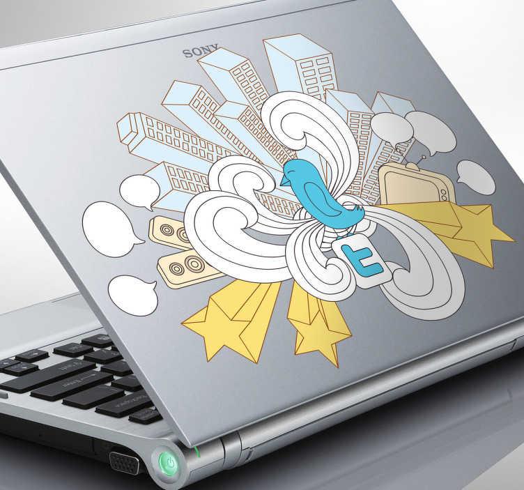 TenStickers. Naklejka na laptopa Twitter. Naklejka na laptopa ptaszek twitter w wielkim mieście. energetyczna naklejka dekoracyjna, która wniesie radość do codziennego dnia.