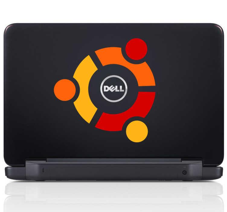 TenVinilo. Adhesivo logo ubuntu linux. Emblema circular característico en vinilo de este sistema operativo de software libre.