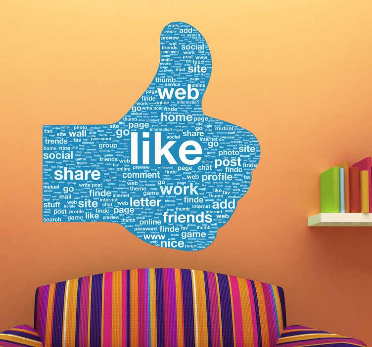 """TenStickers. Naklejka kciuk w górę. Naklejka na ścianę przedstawiająca znak wszystkim dobrze znany z Facebooka """"lubię to"""" z różnymi angielskimi słowami związanymi z tym portalem społecznościowym."""