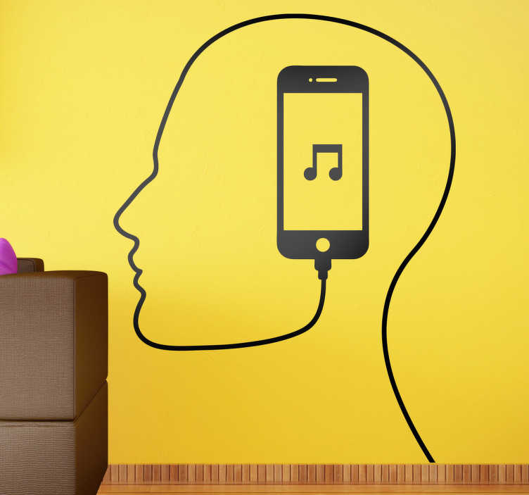 TenStickers. iTunes Man Wall Decal. Wall Stickers - Single colour illustration of the outline of a man´s head from a cable connected to a music device.