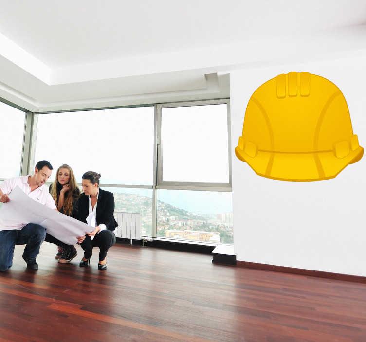 Tenstickers. Hjälmkonstruktion säkerhet affärer klistermärke. Denna hjälmväggsplatta av robust vinylmaterial kan även appliceras utomhus och är därför den perfekta indikationen för säkerhet för ditt företag.