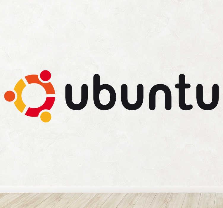 TenVinilo. Vinilo decorativo logotipo Ubuntu. Emblema característico en adhesivo del famoso sistema operativo de la empresa de software libre Linux.