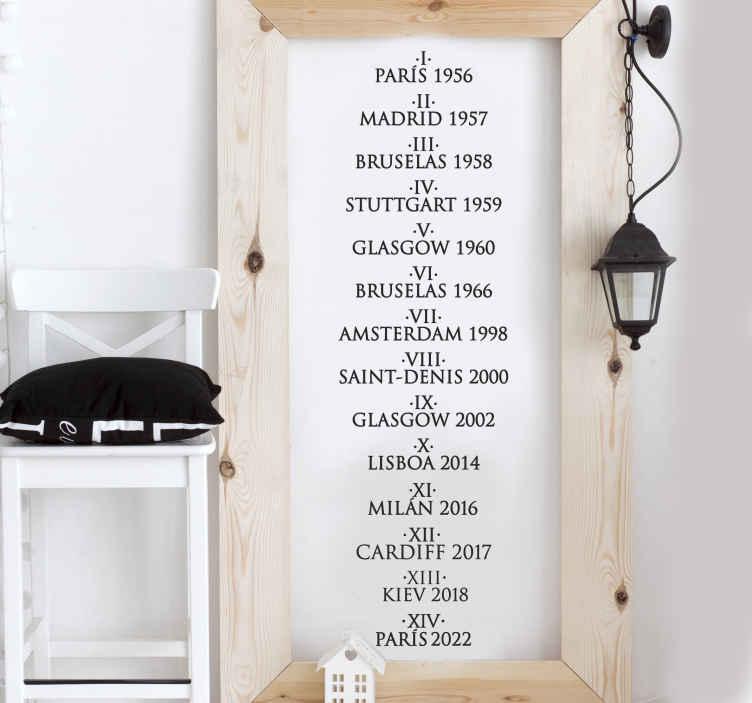 TenVinilo. Vinilo decorativo lista Champions Madrid. Especial adhesivo para los aficionados merengues con un listado de todas las copas de Europa ganadas, el año y el lugar donde se consiguieron.