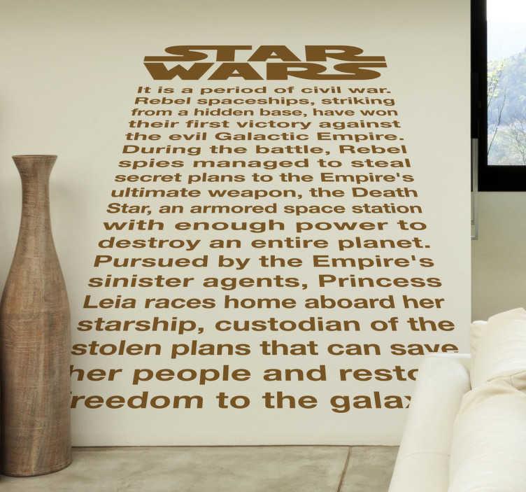 TenVinilo. Vinilo decorativo texto inicial star wars. Original adhesivo para decorar las paredes de los más fervientes seguidores de la saga de la Guerra de las Galaxias.