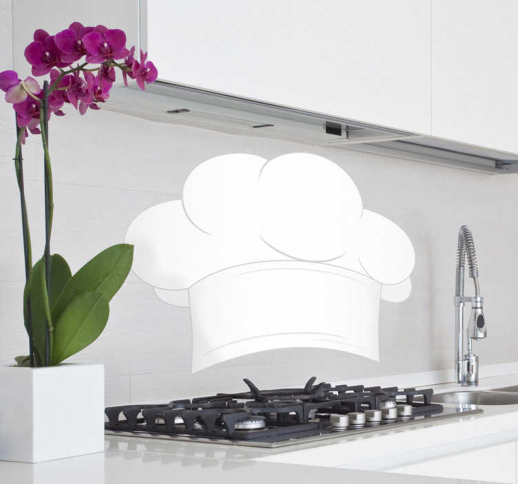 TenStickers. 주방 스티커 요리사 모자. 주방 스티커-자신을 마스터 요리사로 생각하십니까? 이 흰색 요리사 흰색을 사용하여 세계에 알리십시오. 주방 공간을 장식하려면 데칼을 사용하십시오.