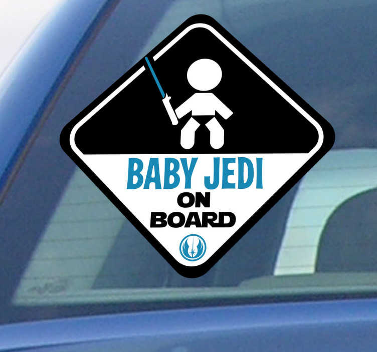 TenStickers. Bil Klistermærkerbaby Jedi on board. En mindre Star Wars sticker der illustrerer et tegn, der vil vise alle andre billister, at en lille Skywalker rejser med dig. En kreativ bil dekoration