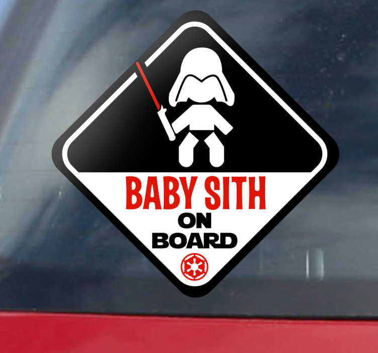 TenStickers. Baby Sith on Board Sticker. Original sticker for your car to warn the other vehicles that you are travelling with a little Darth Vader.