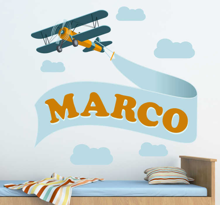 TenStickers. Personalised Biplane Kids Sticker. A personalised wall sticker illustrating an aircraft design ideal for decorating kid's bedrooms. Brilliant plane decal to give their room a new and fresh atmosphere.