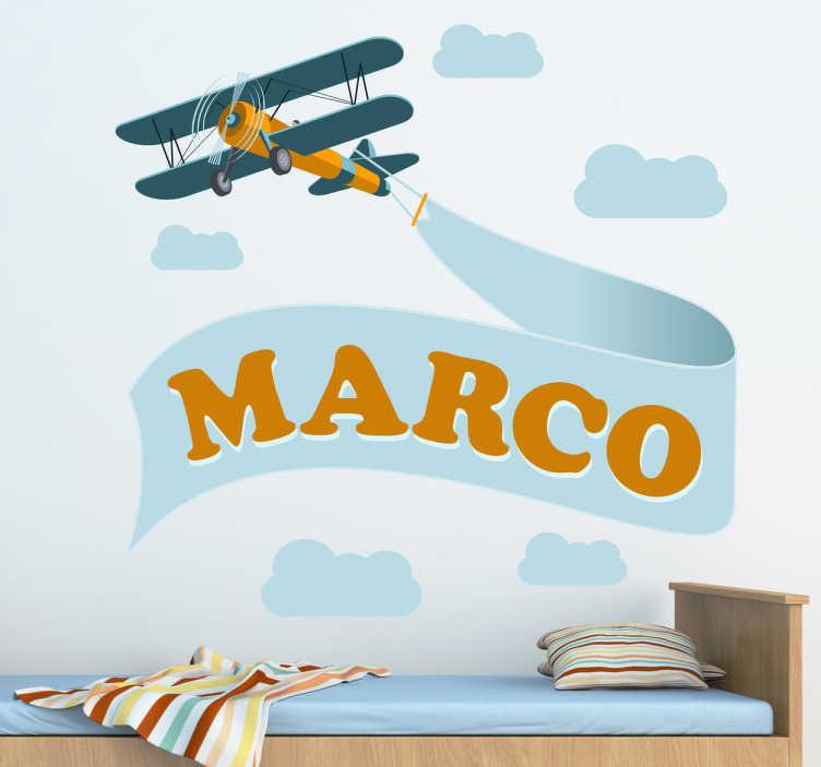 TenVinilo. Vinilo decorativo aeroplano con nombre. Original adhesivo de un avión surcando el cielo. Escoge el nombre que desees indicándonoslo en el apartado de texto de la ficha.