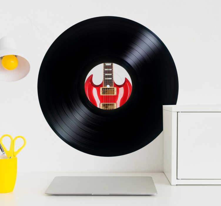TenStickers. Persönliche Schallplatten Aufkleber. Dekoratives Wandtattoo im Retrostyle. Dekorieren Sie Ihr Wohnzimmer mit Aufklebern von der alten Form einer CD, der Schallplatte.