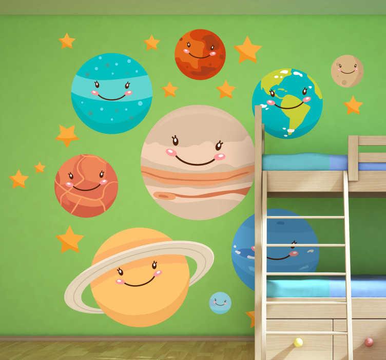 TenStickers. Planeter væg klistermærke. En strålende samling af planetdekaler til at dekorere de smås soveværelse! Fantastisk plads væg klistermærke til deres legerum. Omfatter kviksølv, venus, jord, mars, jupiter, saturn, uranus, neptun og stjerner.