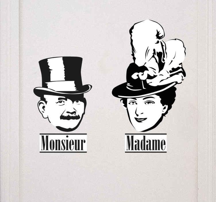 TenStickers. Deursticker Monsieur/Madame. Een leuke deursticker in Franse sferen, die laat zien welk toilet to welk geslacht toebehoort! Zo bestaat deze sticker uit een set van twee stuks,