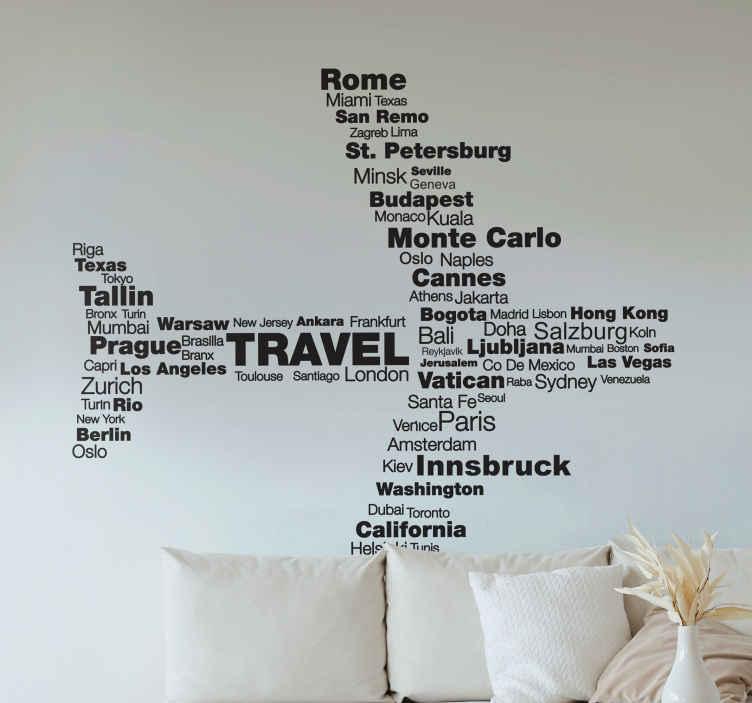 TENSTICKERS. 目的地の平面の壁のステッカー. 旅行の壁のステッカー - 世界中のさまざまな都市の名前から作られた航空機のシルエットの型図のイラスト。ローマ、マイアミ、トーキョーなど、地球上で最高の目的地を旅してみましょう。