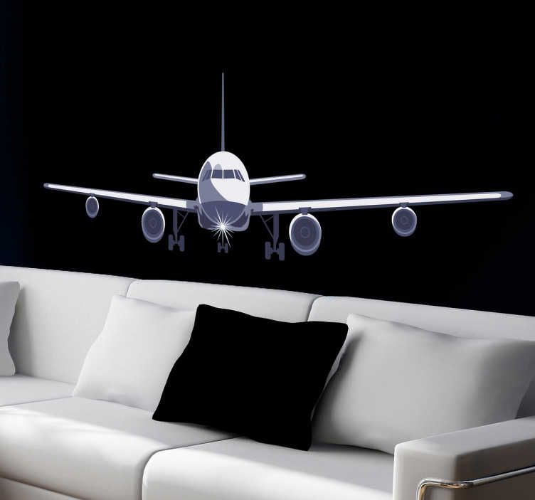 TenVinilo. Vinilo decorativo avión de pasajeros. Espectacular ilustración adhesiva con la vista frontal de una aeronave en pleno aterrizaje.