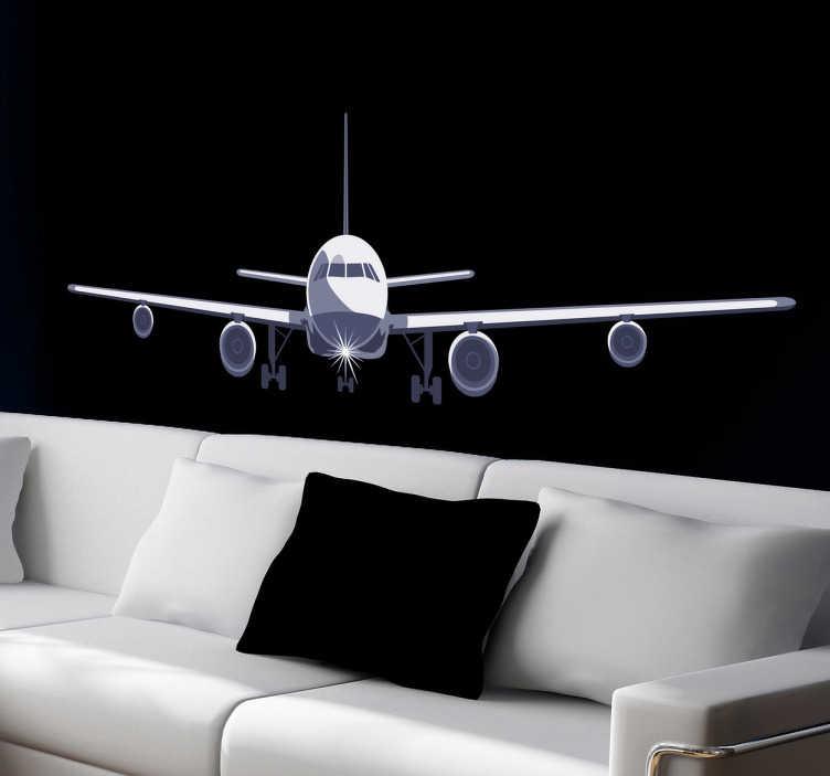 TENSTICKERS. エアライン壁のステッカーに近づいて. 将来のパイロットや航空愛好家に理想的な土地に接近する航空機の飛行機の壁のステッカー。様々なサイズで入手可能で、ビニル接着剤を適用するのが非常に簡単です。