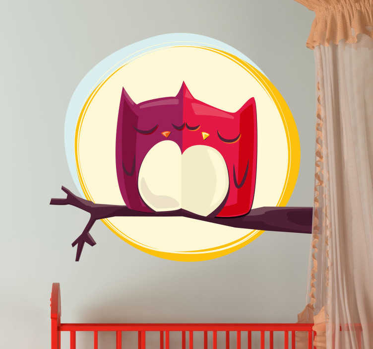 TenStickers. Moonlight Owls Kids Sticker. A cute and romantic design of our collection of owl wall stickers. Two small owls on a tree branch during a full moon at night. It is perfect to decorate the room of your child and create a warm and friendly environment at night.
