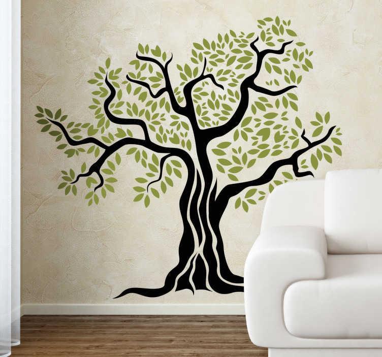 TenStickers. Naklejka drzewo oliwne. Naklejka na ścianę przedstawiająca stare drzewo oliwne z czarnym konarem i gałęziami oraz oliwkowymi liśćmi.