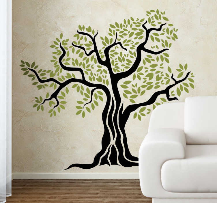 TenStickers. 오래된 올리브 나무 벽 스티커. 올리브 트리 데 칼 - 꽃과 식물의 우리의 컬렉션에서 큰 올리브 나무의 예술적 그림 decals, 올리브 나무 벽 아트 독특한 디자인입니다.