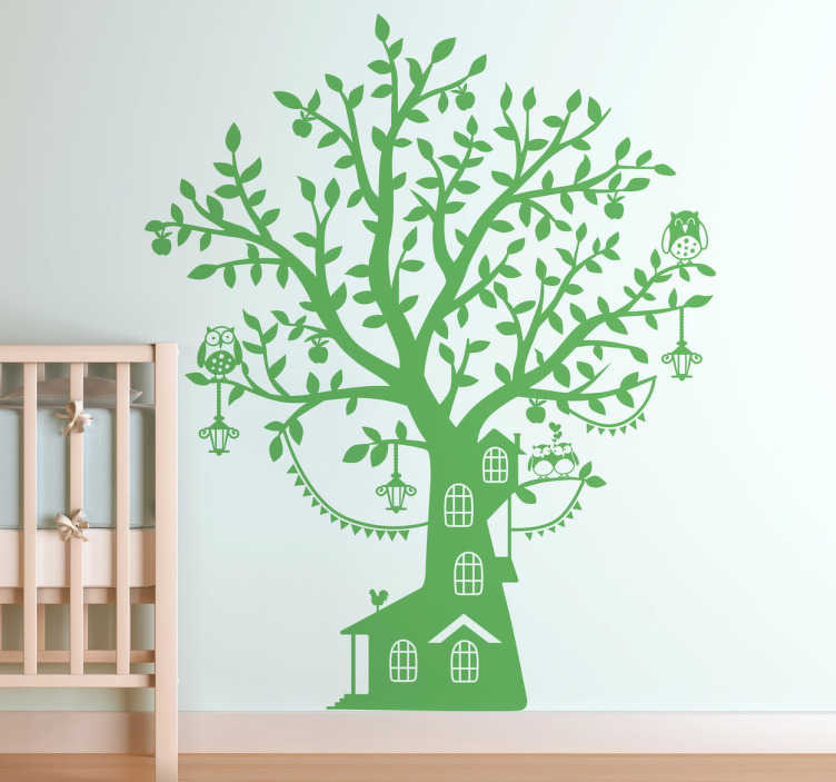 Sticker huis boom