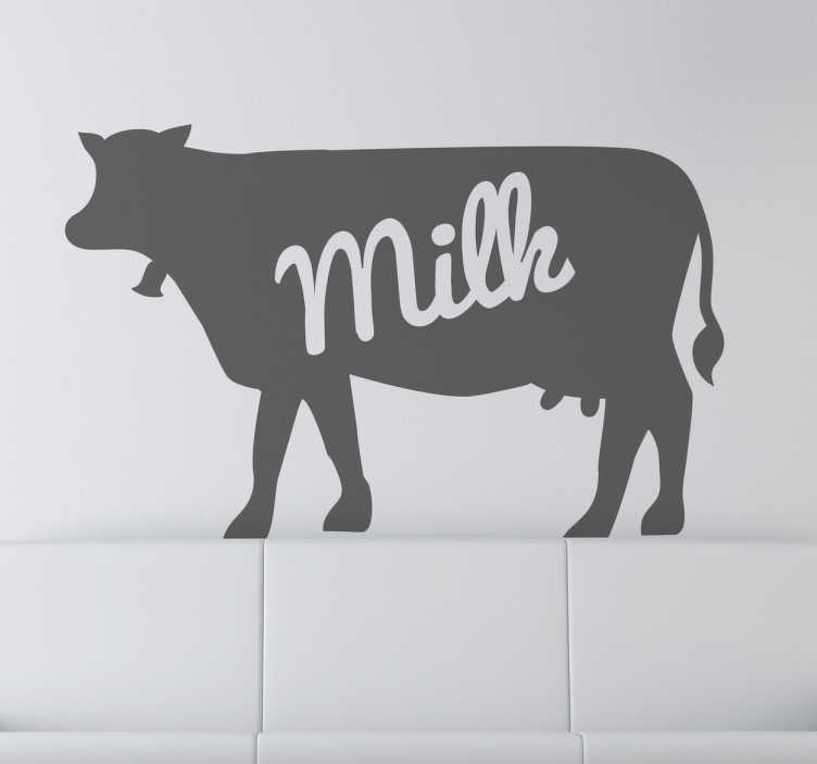 "TenStickers. Dairy Milk Cow Wall Sticker. Decals - Silhouette illustration of a cow with the text ""milk"". Available in various sizes and in 50 colours."