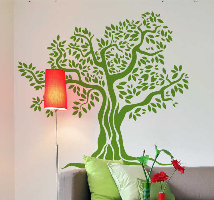 Old Olive Tree Monochrome Wall Sticker
