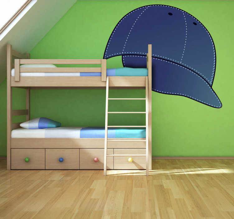 TenStickers. Sticker enfant casquette jean. Une originale casquette en jean bleu sur sticker pour décorer la chambre de votre enfant avec originalité. Choisissez vos dimensions personnalisées.