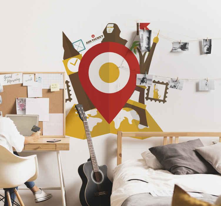 TenStickers. Travel Wandtattoo Google Maps. Dekorieren Sie Ihre Wände mit diesem bunten Wandtattoo zum Thema Reisen. Es zeigt den berühmten Zeiger von Google Maps, Sehenswürdigkeiten