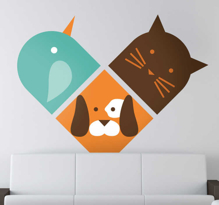 TenStickers. Heart Trio Animals Wall Sticker. Decals - Illustration of a heart made from the three animals; a bird, cat and dog. Available in various sizes.