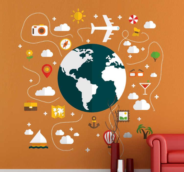 TenStickers. Naklejka podróż dookoła świata. Naklejka na ścianę inspirowana planem podróży dokoła świata.