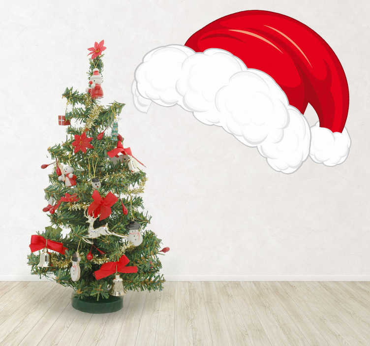 TenStickers. Santa Christmas Hat Wall Sticker. Room Stickers - Get the Christmas feeling with this white and red hat of father Christmas