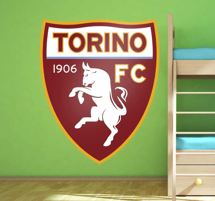 TenVinilo. Vinilo decorativo Torino FC. Emblema adhesivo de este famoso equipo rival clásico de la Juventus de Turín. Pegatinas de fútbol para aficionados al calcio italiano.