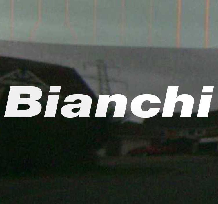 TenVinilo. Adhesivo monocolor logo Bianchi. Vinilo con la tipografía característica de esta famosa marca de bicicletas italianas.