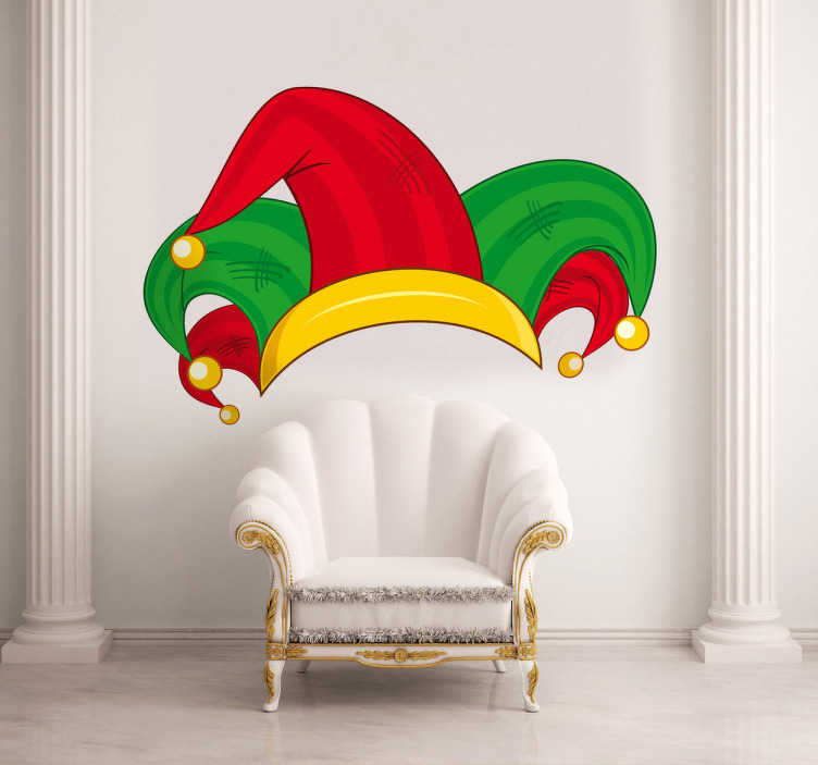 TenStickers. 百搭帽主题墙短剑. 房间贴纸-装饰五彩小丑的法院帽子。明亮的红色,绿色和金色。