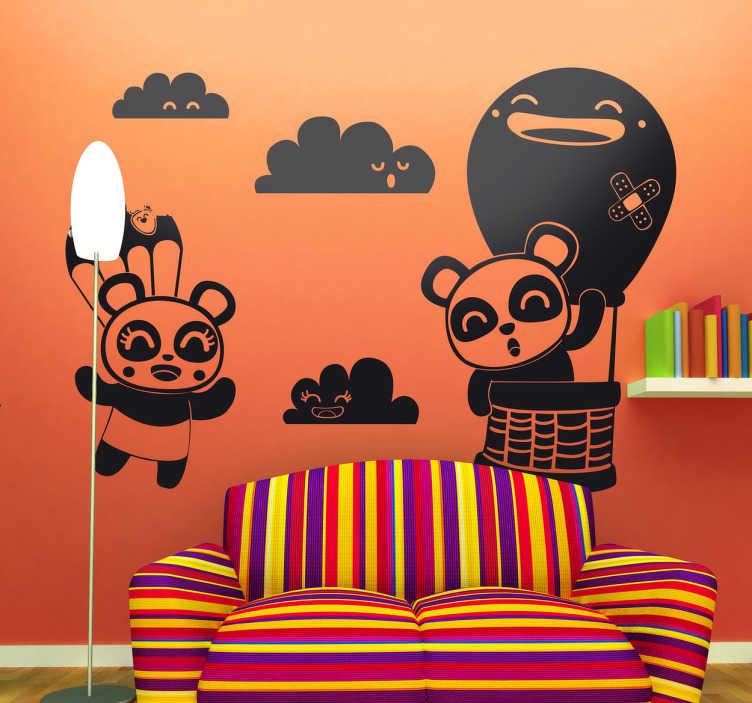 TenVinilo. Vinilo infantil cielo pandas. Fantástico y fresco dibujo en adhesivo de Jaume Salés, colaborador de tenvinilo de dos osos viajando en globo.