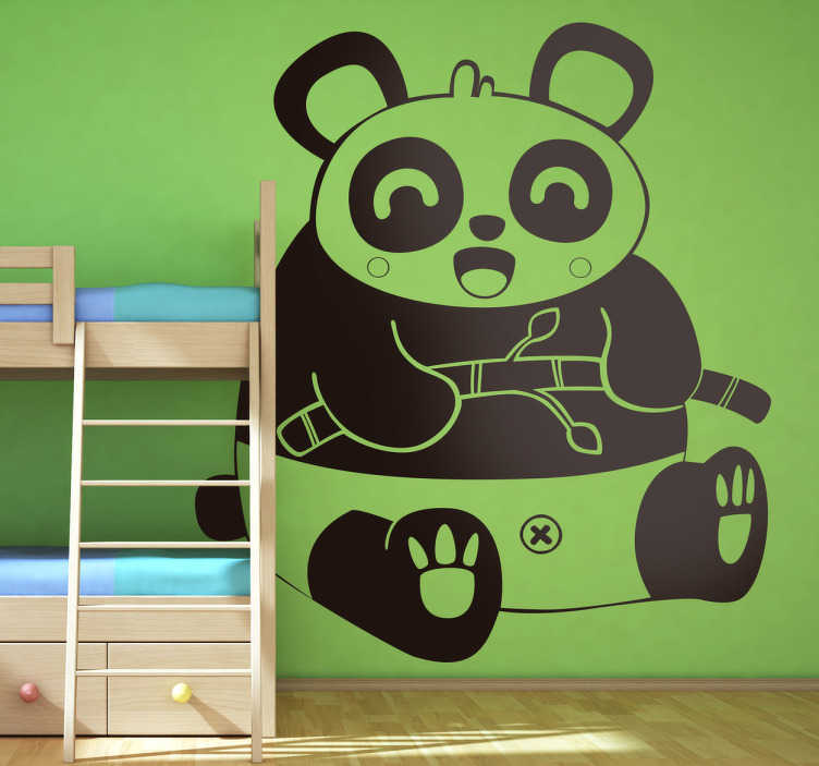 TenStickers. Kids Laughing Panda Wall Sticker. Kids Wall Stickers - Original Japanese comic style illustration of a big friendly happy panda. Illustration by Jaume Salés.