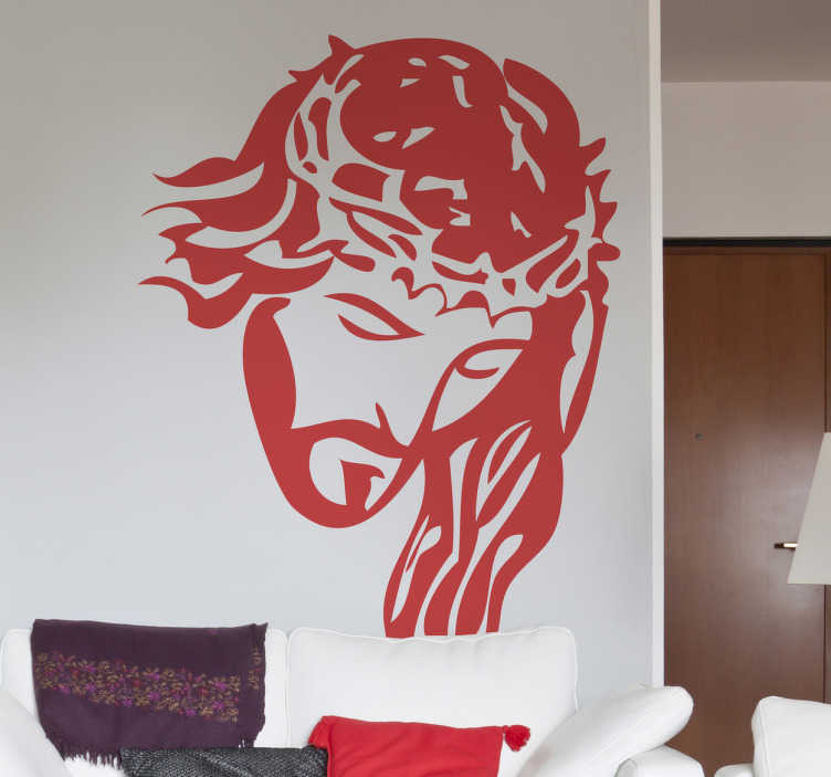 TenStickers. Jesus Portrait Wall Sticker. A brilliant monochrome sticker design illustrating Jesus with the crown of thorns on his head. Design from our collection of Christian wall art.