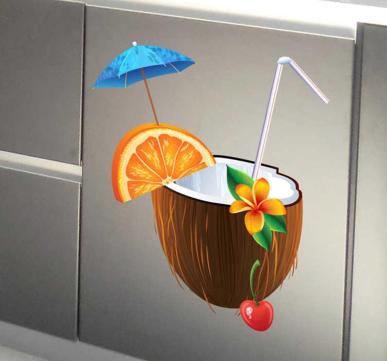TenStickers. Sticker decorativo cocktail tropicale. Adesivo murale che raffigura un invitante cocktail esotico con ombrellino, cannuccia, spicchio di arancia e noce di cocco al posto del bicchiere.