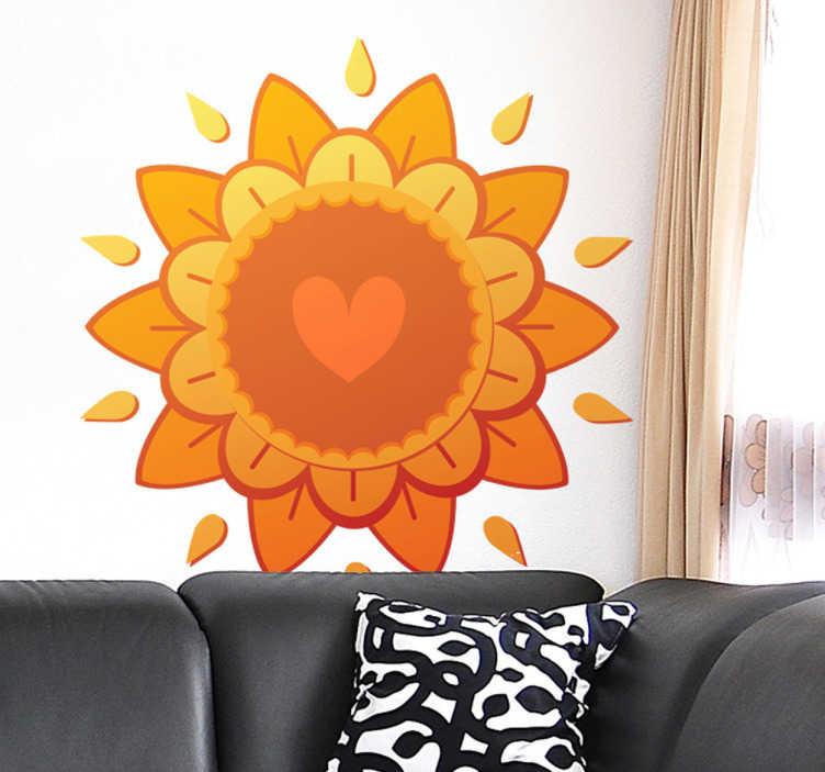 TenStickers. Wandtattoo Sonne und Herzen. Mit diesem Wandtattoo muss man einfach gute Laune kriegen! Das Design einer Sonne in Kombination mit Blumen und Herzen