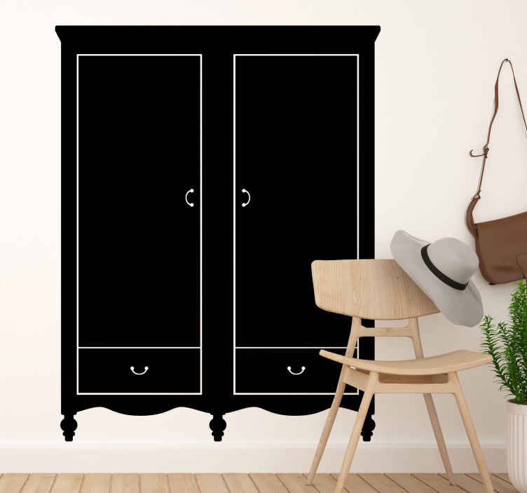 TenStickers. Sticker armoire classique. Une armoire classique à deux portes pour personnaliser l'espace des plus nostalgiques. Achetez ce sticker taille grandeur nature et vous serez surpris du résultat.