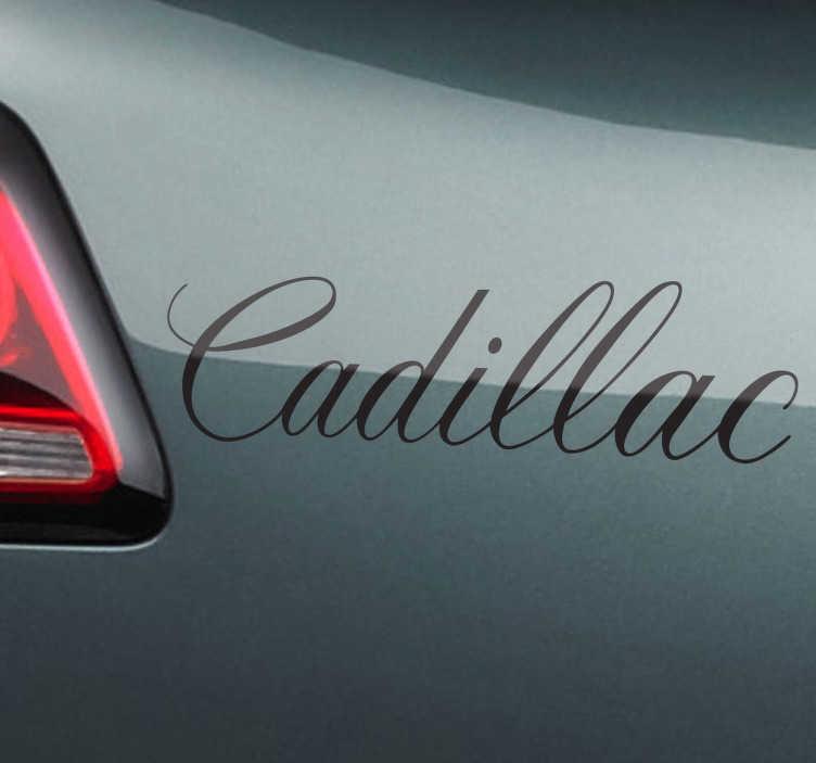 TenVinilo. Adhesivo decorativo tipografía Cadillac. Reconocible texto en vinilo monocolor de esta marca americana de automóviles.