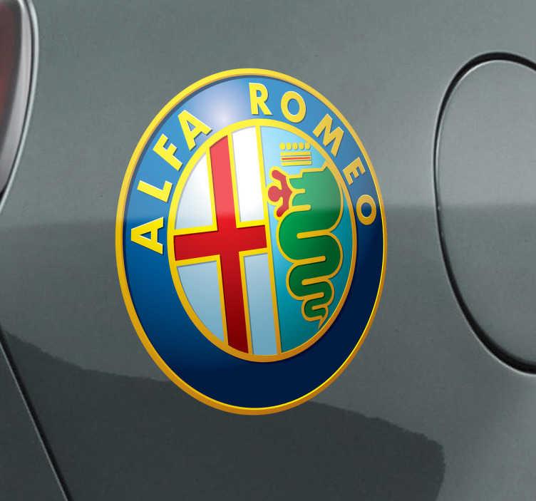 TenStickers. Sticker embleem alfa romeo. Een leuke decoratie sticker voor op je auto van het italiaans automerk Alfa Romeo. Een prachtige sticker voor de verfraaiing van je wagen!