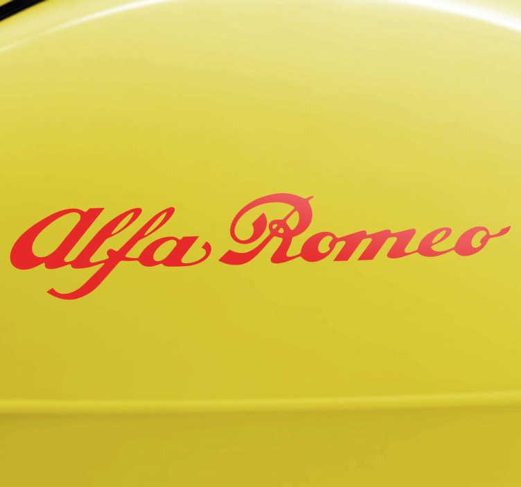 TenStickers. Sticker Alfa Romeo auto. Decoratie sticker voor de liefhebbers van het Italiaanse automerk Alfa Romeo. Verfraai uw wagen met deze leuke sticker met de tekst Alfa Romeo.