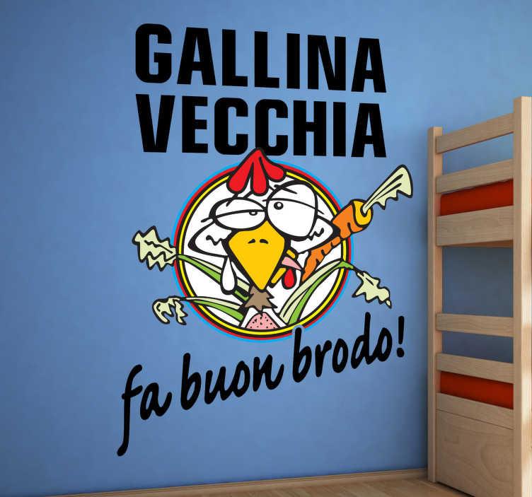 TenStickers. Sticker decorativo gallina vecchia Rossi. Simpatico adesivo murale che raffigura l'ironica illustrazione dedicata al campionissimo di Moto GP.