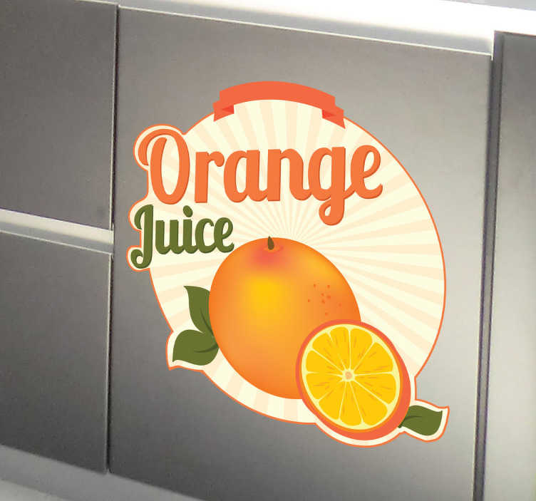 TenStickers. Naklejka dekoracyjna orange juice. Naklejka dekoracyjna w stylu retro przedstawiająca smakowitą, świeżą pomarańcz. Obrazek świetnie nada się do dekoracji ścian oraz wyposażenia kuchennego.