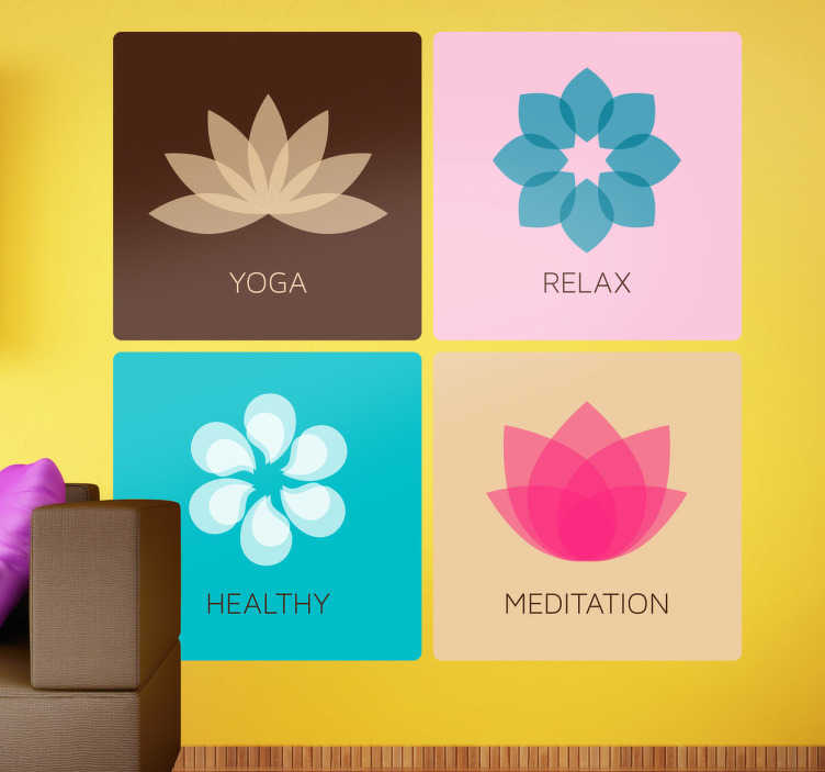 TenStickers. Sticker carrés méditation. Yoga, relax, santé, méditation... Adhésif mural faisant référence à l'univers de la santé et du bien-être.Utilisez ce stickers pour décorer.