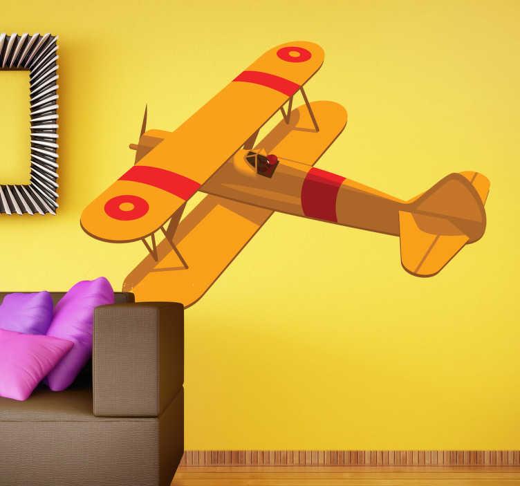 TenStickers. Vliegtuig geel sticker. Stoere muursticker met een grote gele antieke vliegtuig erop! Vlieg terug in de tijd met deze sticker!