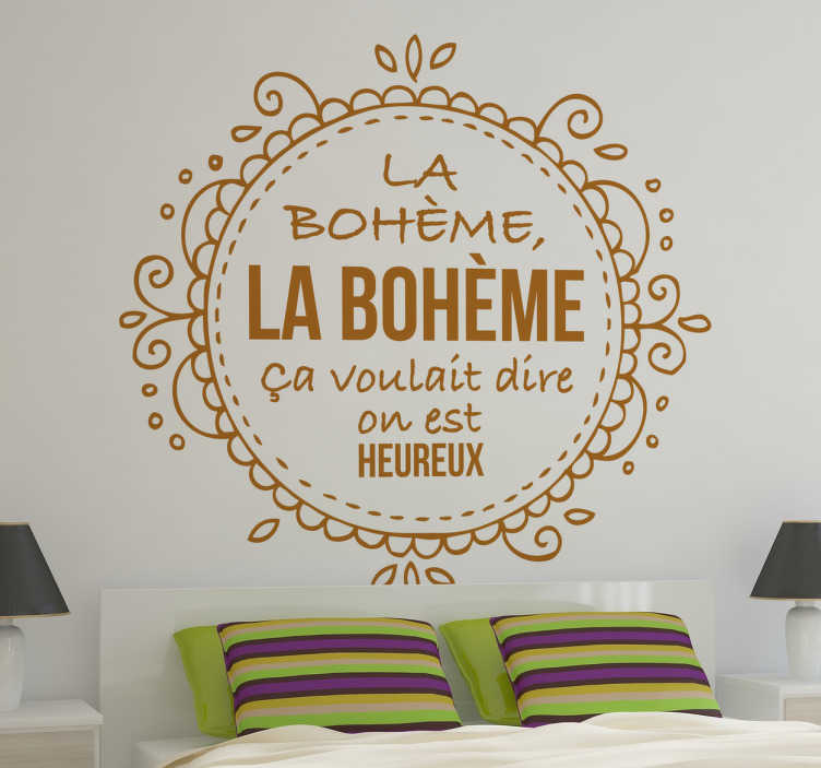 """TenVinilo. Vinilo decorativo Charles Aznavour. Atractivo y original diseño adhesivo con parte de una letra de """"La Bohème"""" de este fantástico cantautor francés."""