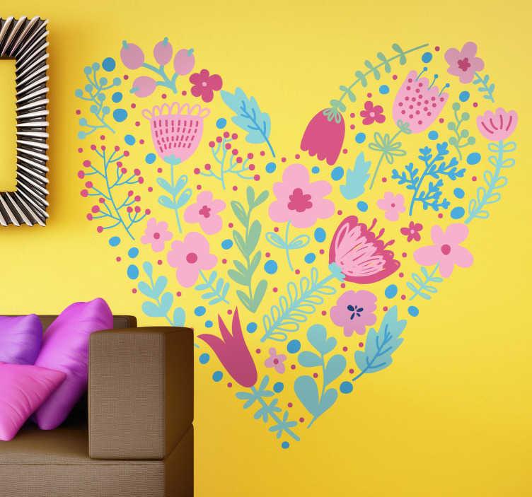 TenStickers. Autocollant mural cœur floral. Stickers mural représentant un cœur de fleurs.Personnalisez et adaptez le stickers à votre surface en sélectionnant les dimensions de votre choix.