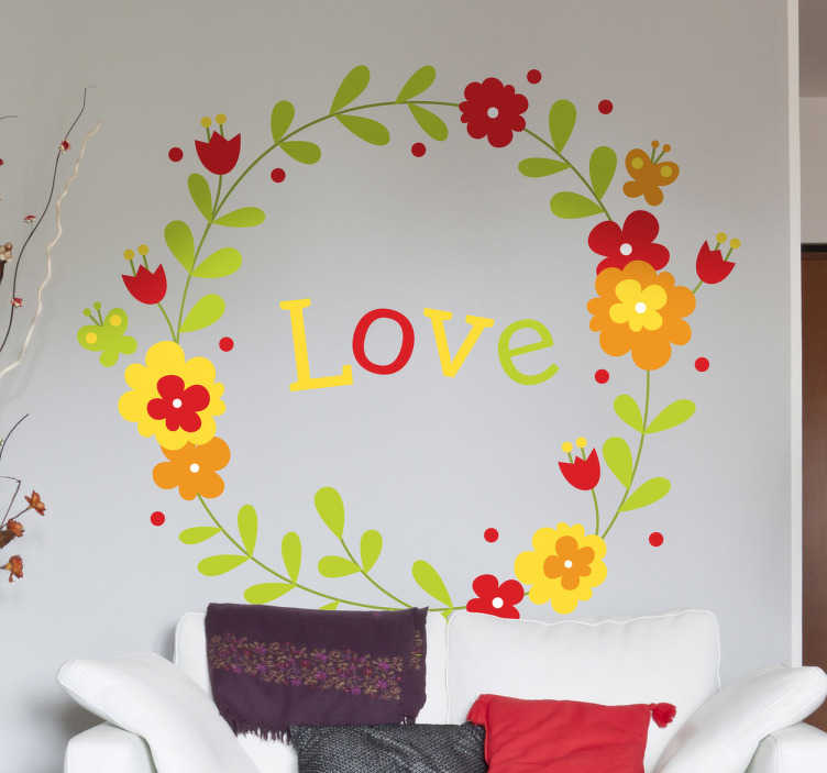 TenStickers. Naklejka kwiatowy wianek. Piękna, subtelna dekoracja ścienna przedstawiająca kolorowy wianek w środku którego widnieje napis 'love'. Nadaj życia i koloru pustym ścianom w mieszkaniu!