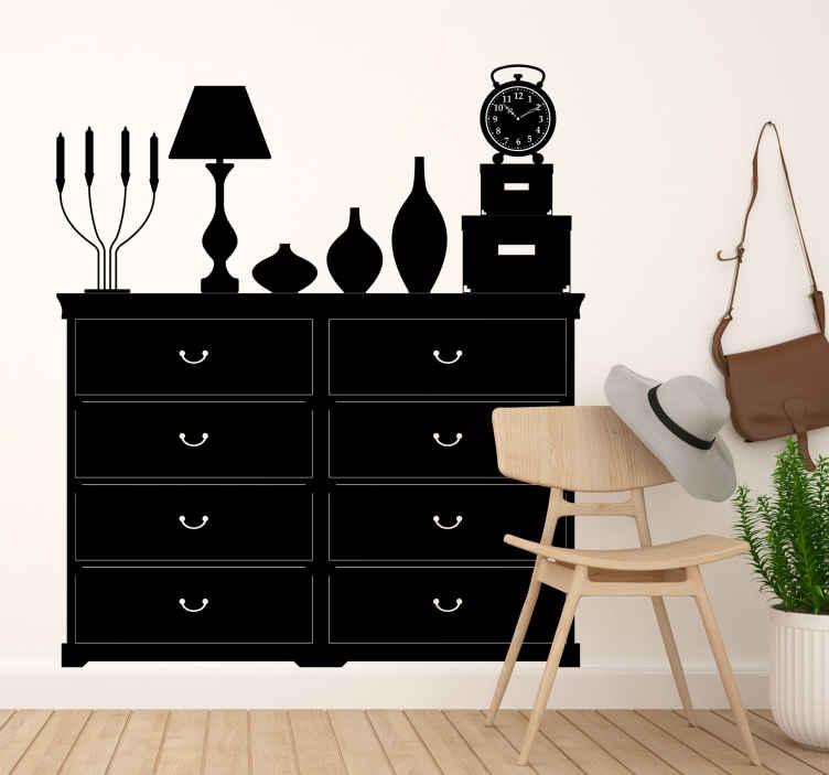 TenStickers. Sticker klassieke kast. Een muursticker van een klassiek en tradioneel meubelstuk voor een originele toets te geven aan de decoratie van uw woning. Bepaal zelf de gewenste kleur en grootte voor deze wanddecoratie.